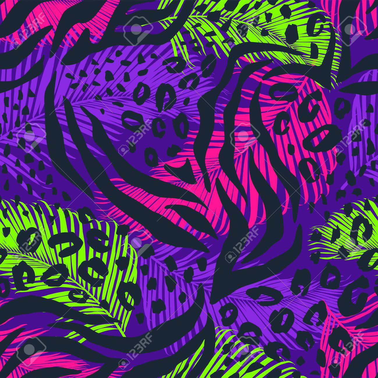 Abstract geometric seamless pattern with animal print. Trendy hand drawn textures. - 127302421