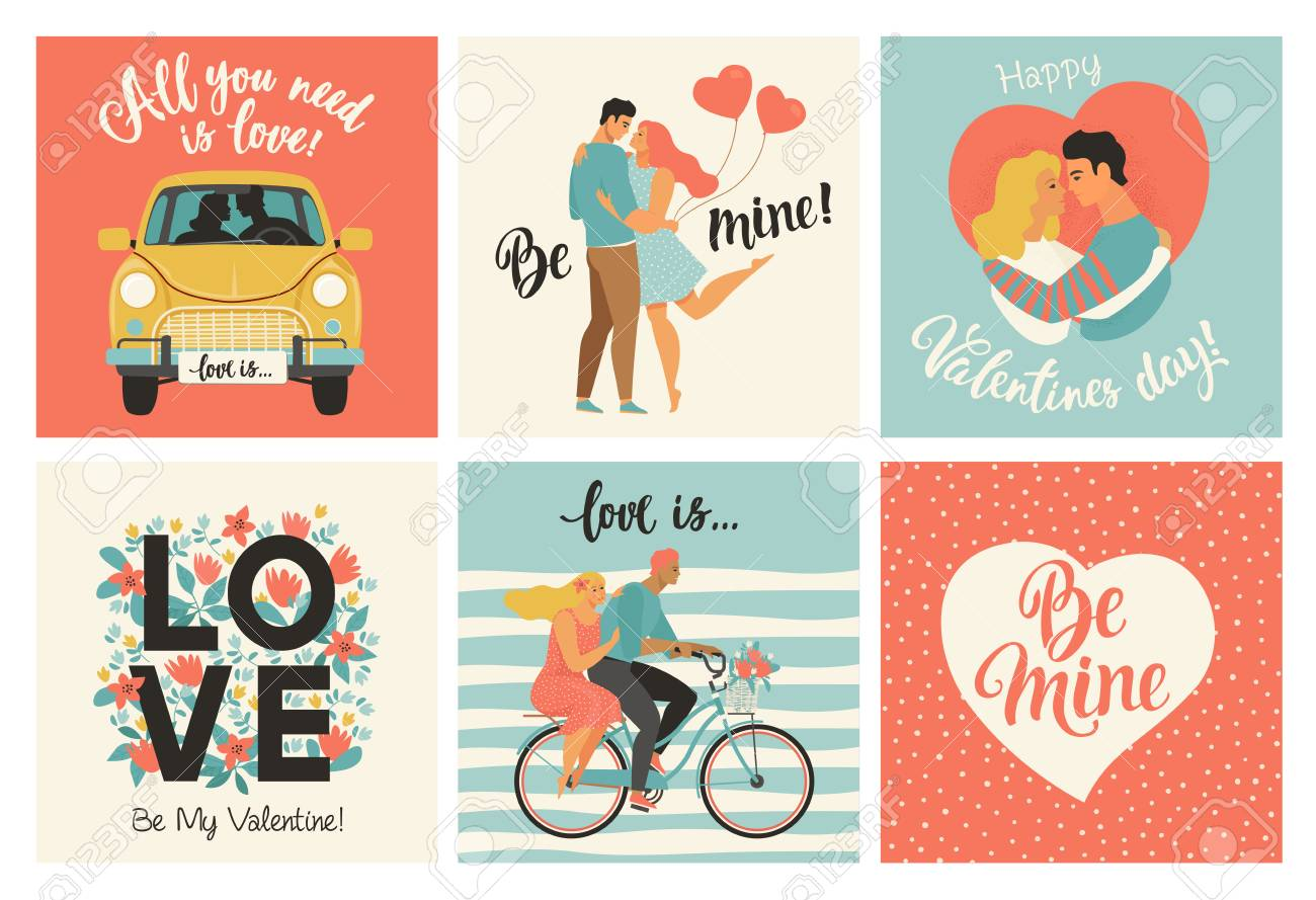 Collection of designs with cute loving couples. Valentines day card and other flyer templates with lettering. Typography poster, card, label, banner design set - 126973811