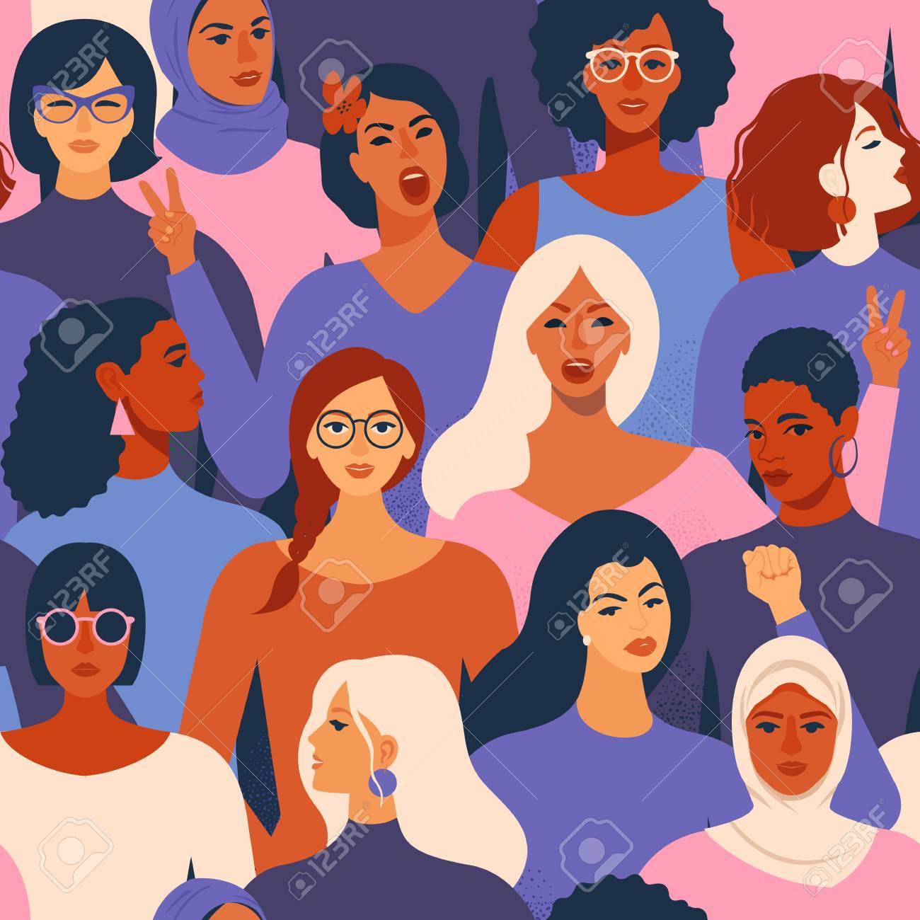 Female diverse faces of different ethnicity seamless pattern. Women empowerment movement pattern International womens day graphic in vector. - 113888297