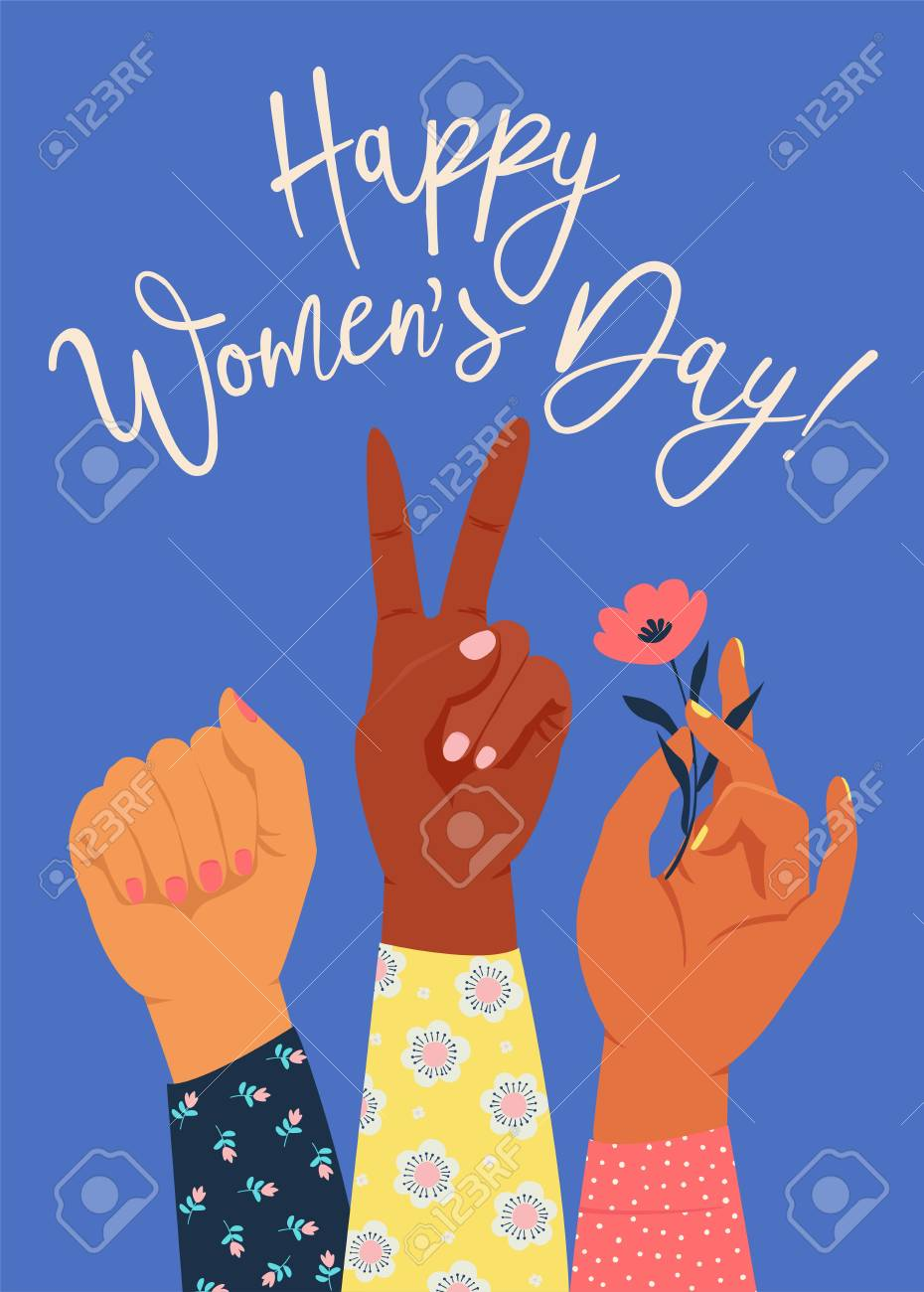 Womens hand with her fist raised up. Girl Power. Feminism concept. Realistic style vector illustration in pink pastel goth colors isolated on white. Sticker, patch graphic design. - 125842307