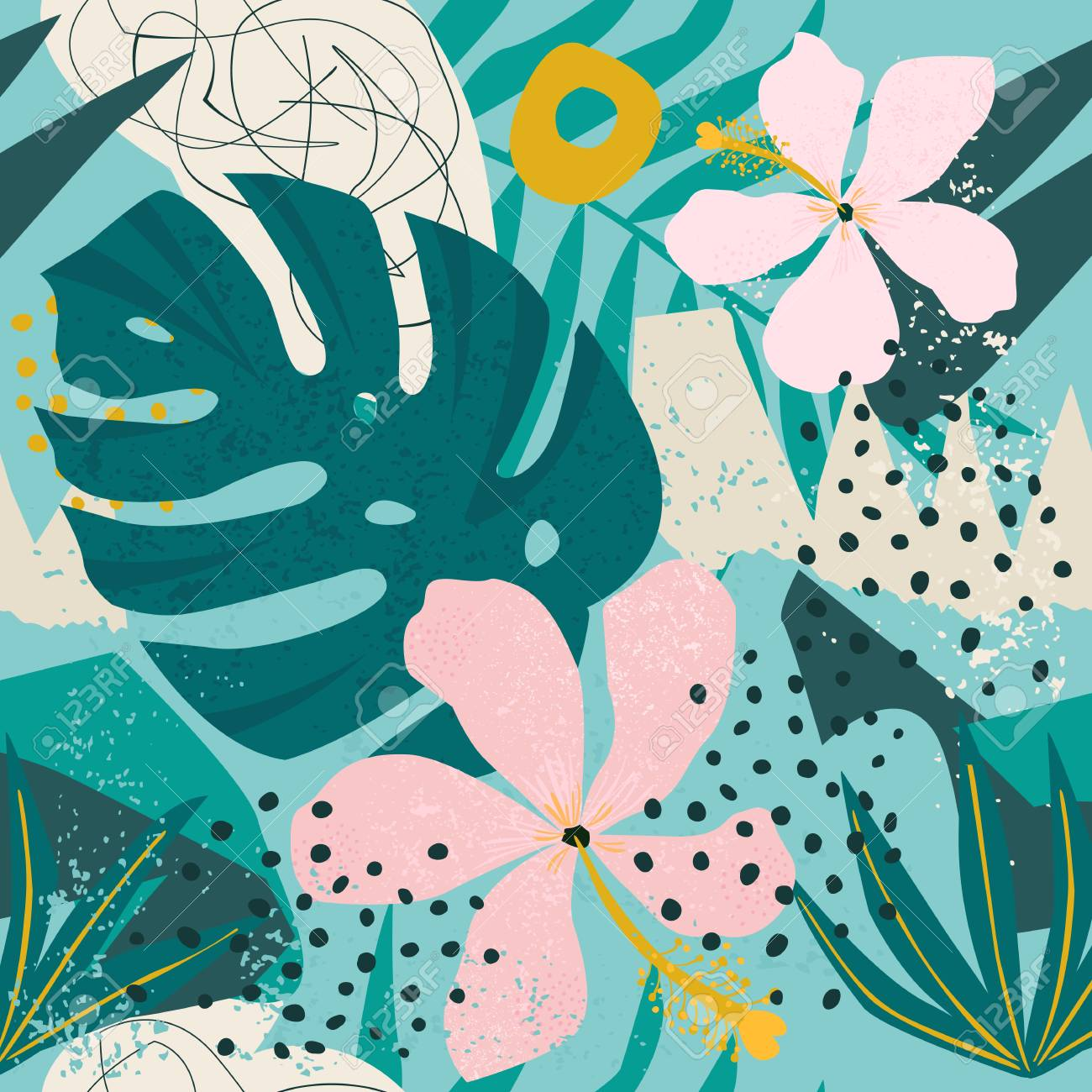 Tropical flowers and palm leaves on background. Seamless Vector pattern. - 125738326
