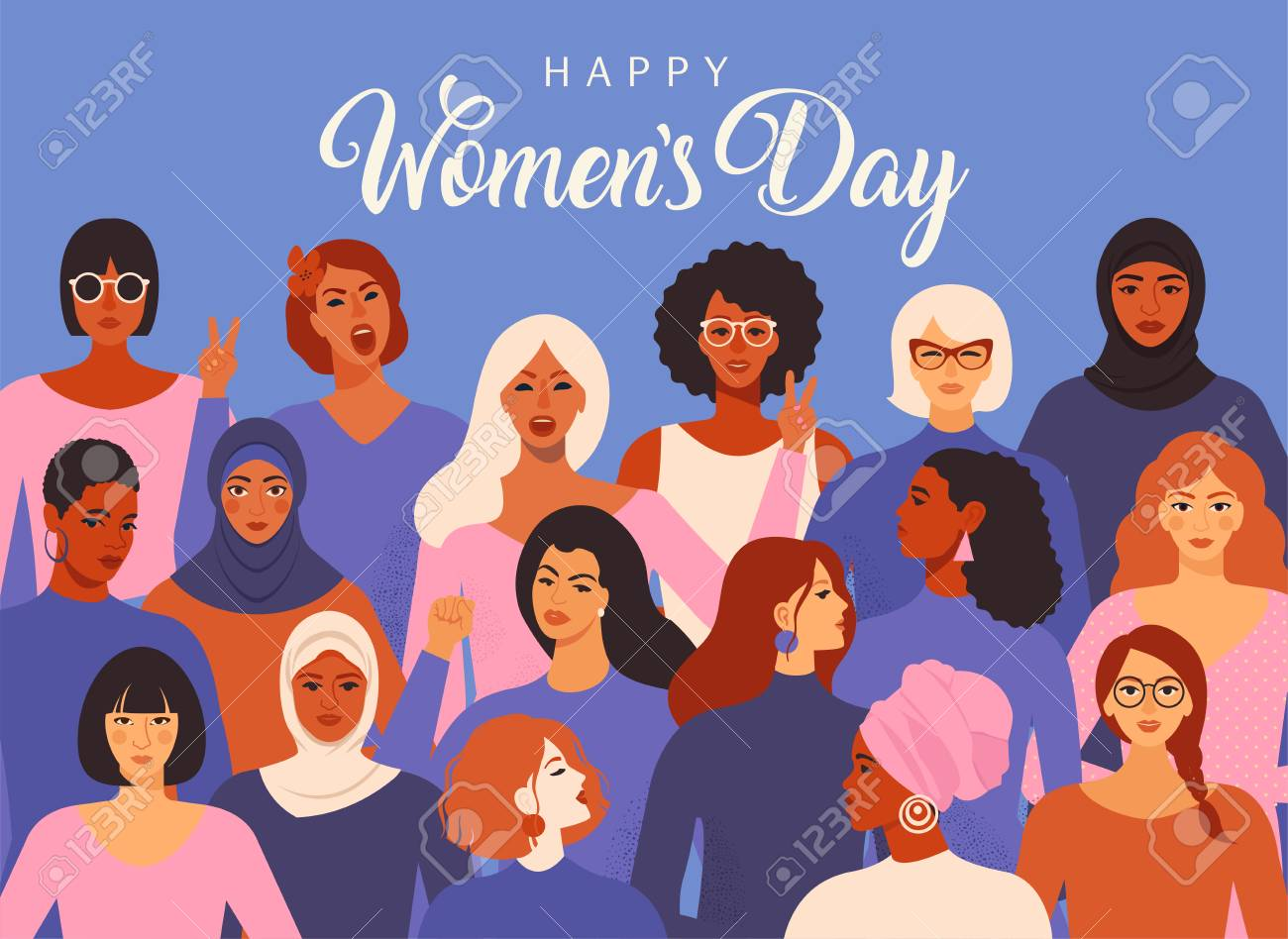 Female diverse faces of different ethnicity poster. Women empowerment movement pattern. International women s day graphic in vector. - 117562394