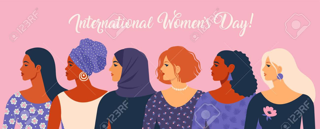 International Womens Day. Vector illustration with women different nationalities and cultures. - 118804032