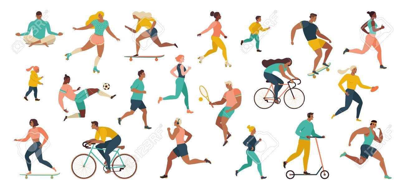Group of people performing sports activities at park doing yoga and gymnastics exercises, jogging, riding bicycles, playing ball game and tennis. Outdoor workout. Flat cartoon vector. - 124691401