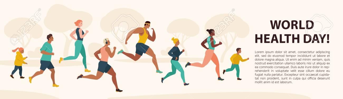 People Jogging Sport Family Fitness Run Training World Health Day 7 April Flat Vector Illustration. - 118804033
