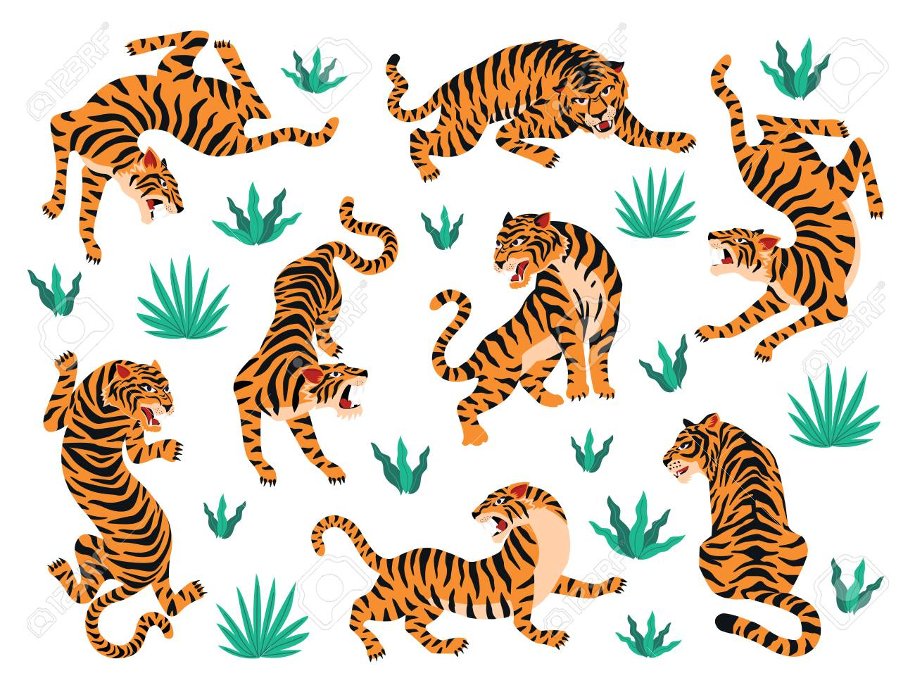 Vector set of tigers tropical leaves. Trendy illustration. - 118773391