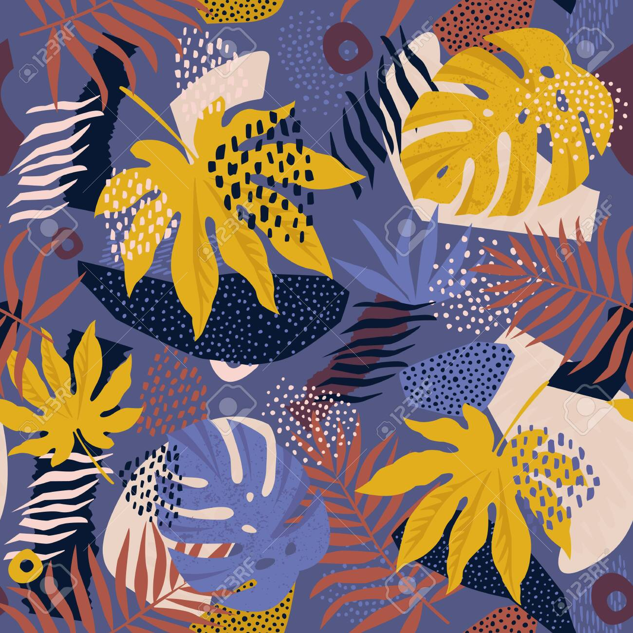 Collage contemporary floral hawaiian pattern in vector. Seamless surface design. - 132183407