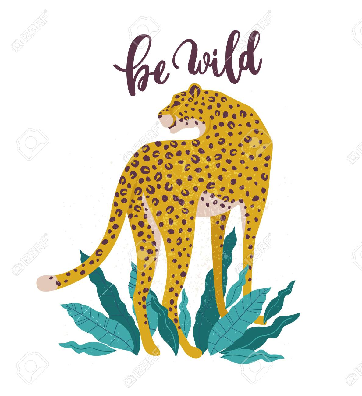 Be Wild slogan. Leopard. Typography graphic print, fashion drawing for t-shirts. Vector stickers, print, patches vintage. - 132183413