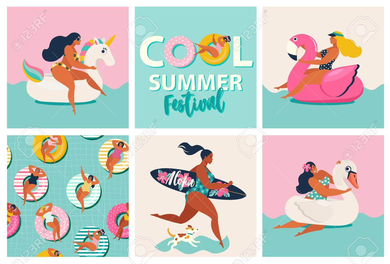 Flamingo, unicorn and swan inflatable swimming pool floats. Cartoon set of summer time with girls, pool floats, dog, surfboard isolated on waves background. - 133672589