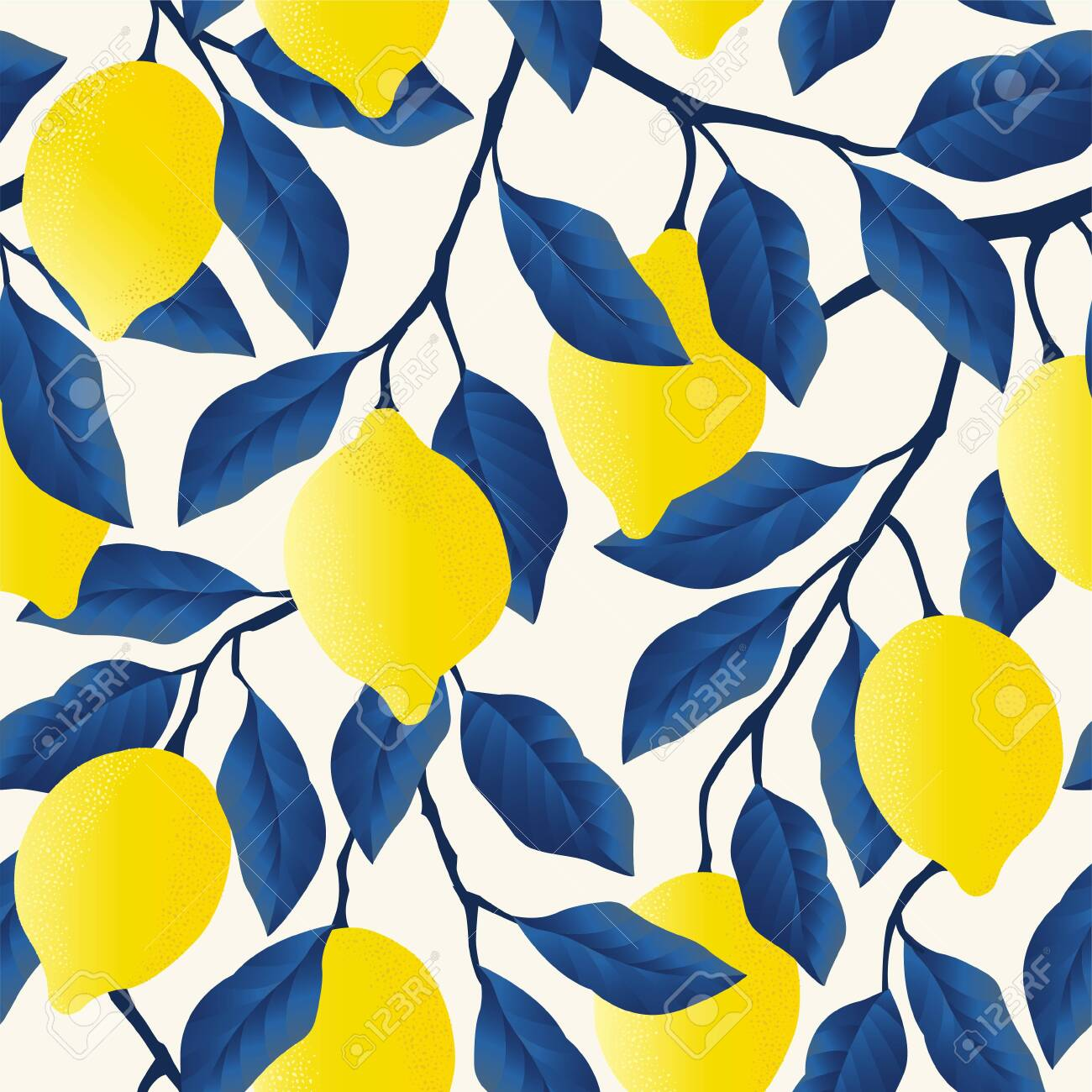 Tropical seamless pattern with bright yellow lemons. - 132183509