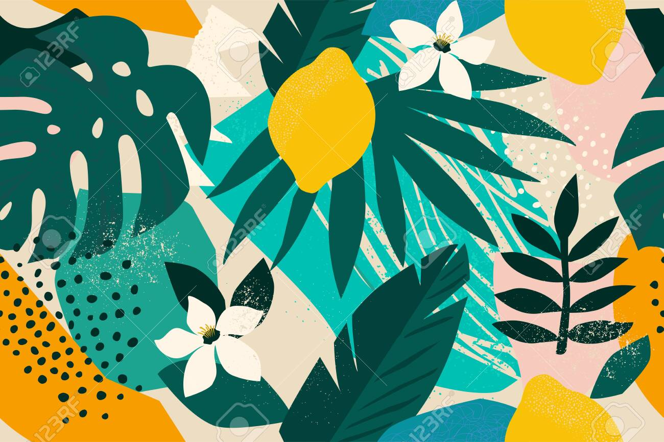 Collage contemporary floral seamless pattern. Modern exotic jungle fruits and plants illustration vector - 133672620