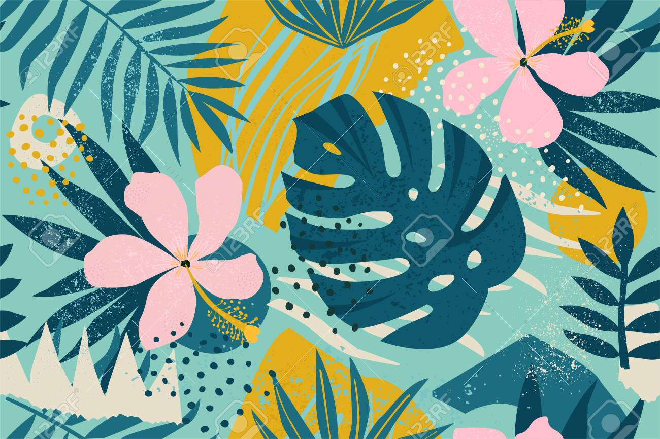Collage contemporary floral seamless pattern. Modern exotic jungle fruits and plants illustration vector. - 133672621