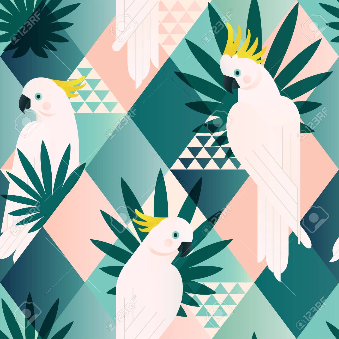 Exotic beach trendy seamless pattern, patchwork illustrated floral vector tropical leaves. Jungle cockatoo. Wallpaper print background mosaic. - 132183514