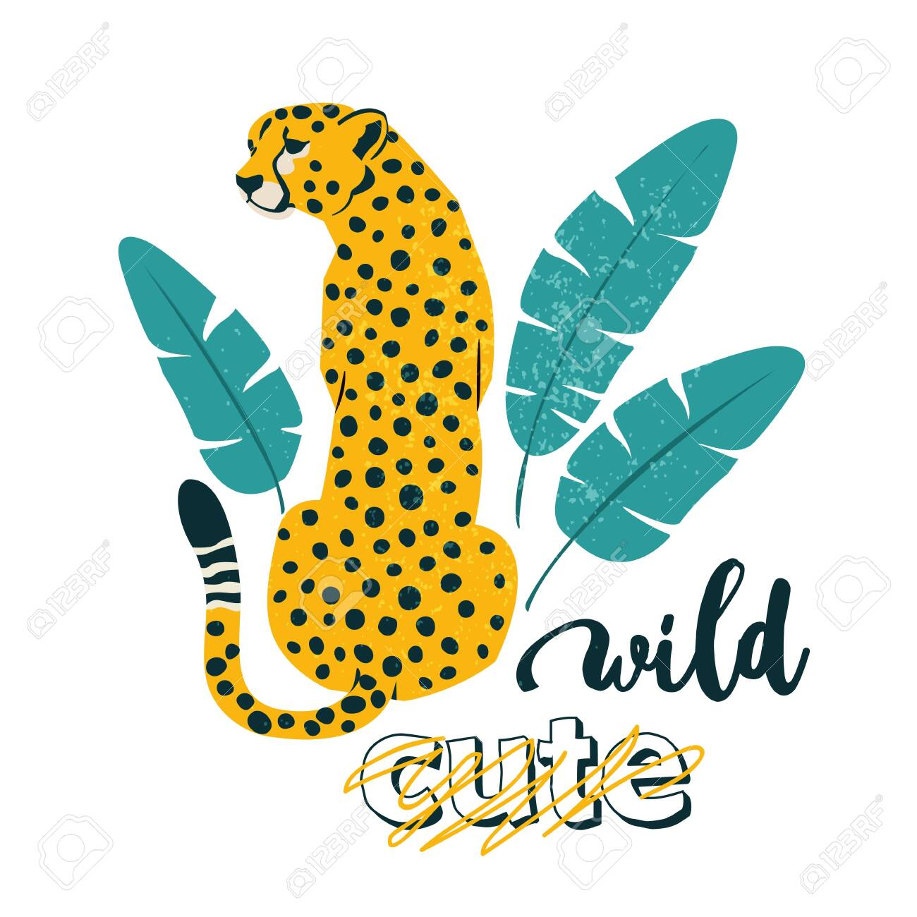 Wild slogan. Leopard. Typography graphic print, fashion drawing for t-shirts. Vector stickers, print, patches vintage. - 134337408