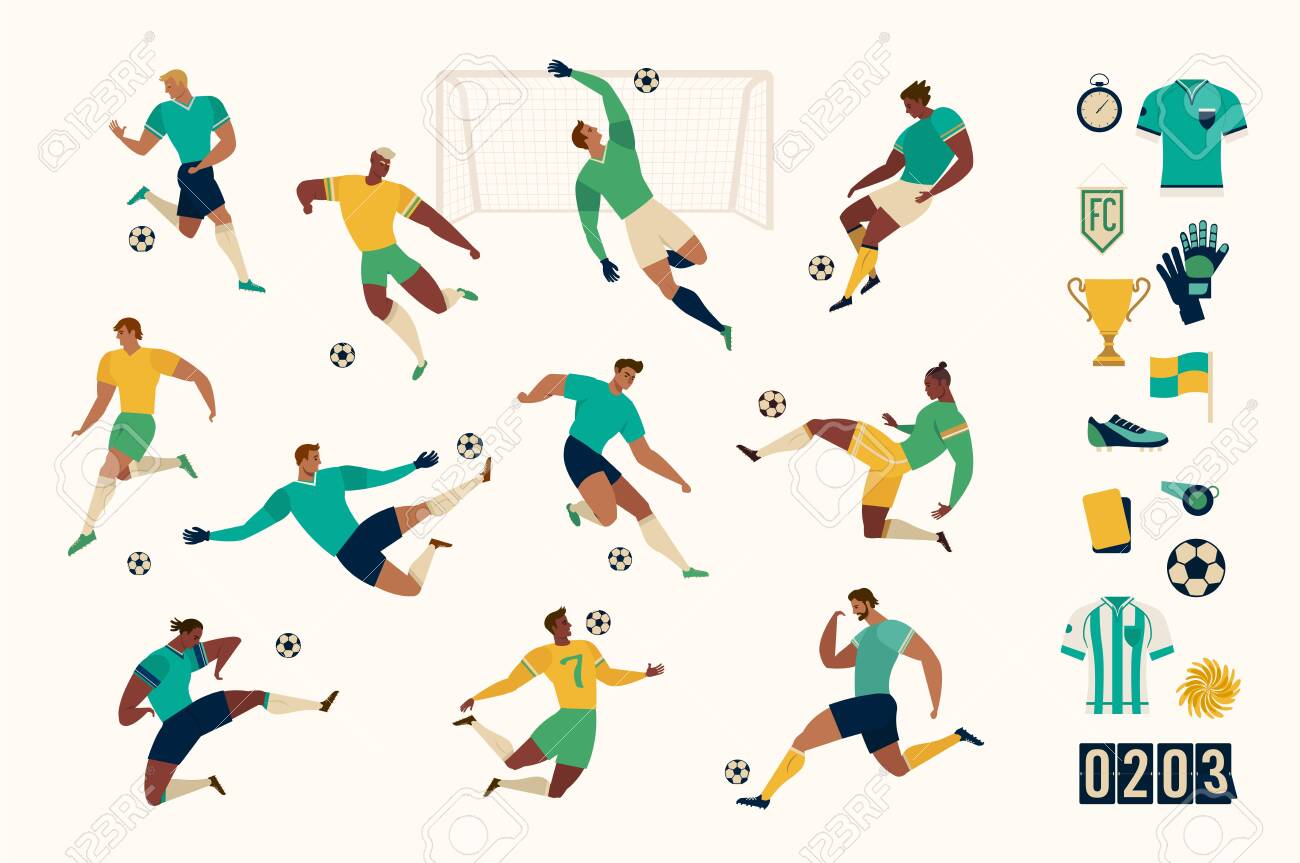 Football soccer player set of isolated characters and modern set of soccer and football icons. Vector illustration. - 136485974