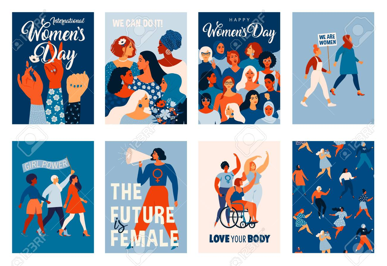 International Womens Day. Vector templates for card, poster, flyer and other users - 136996109