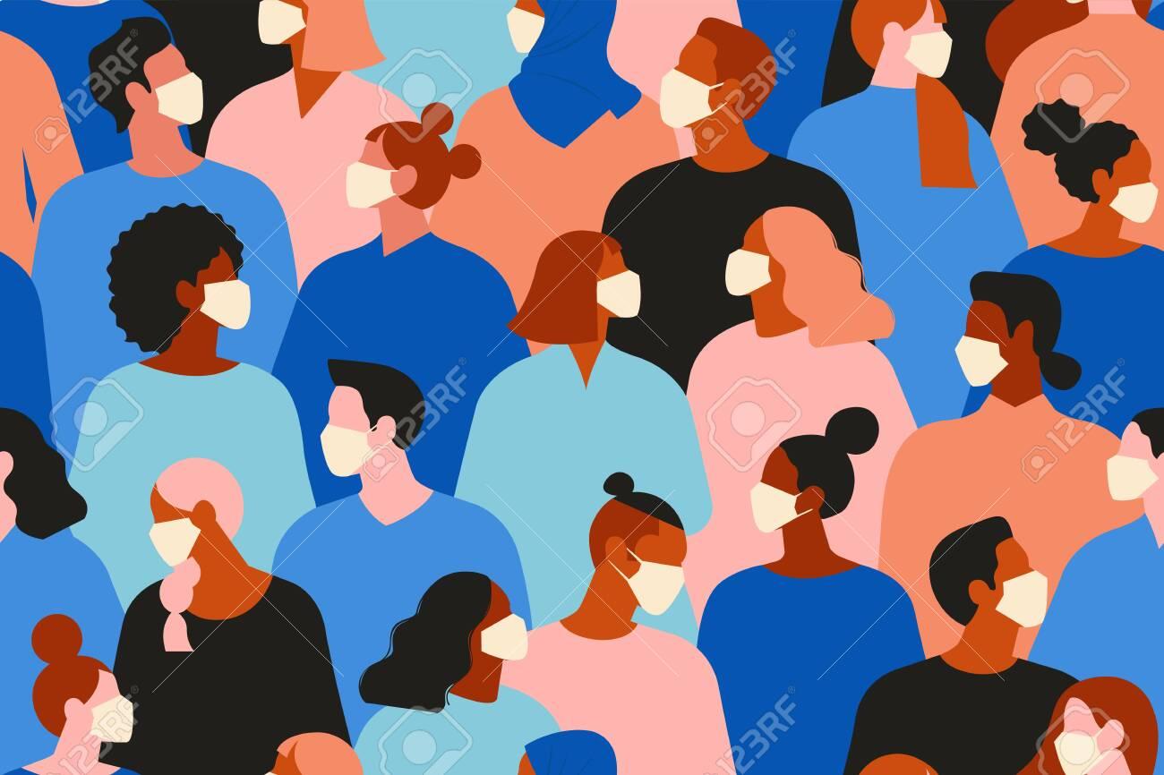 people in white medical face mask. Concept of coronavirus quarantine vector illustration. Seamless pattern. - 140801568