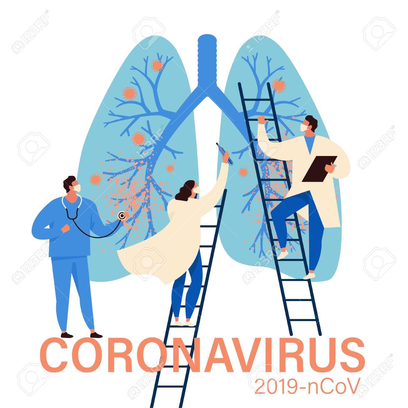 Virus diagnosis and patient treatment abstract concept vector illustration. Coronavirus test kit, coronavirus patient isolation quarantine and treatment, vaccine development abstract metaphor. - 140819204