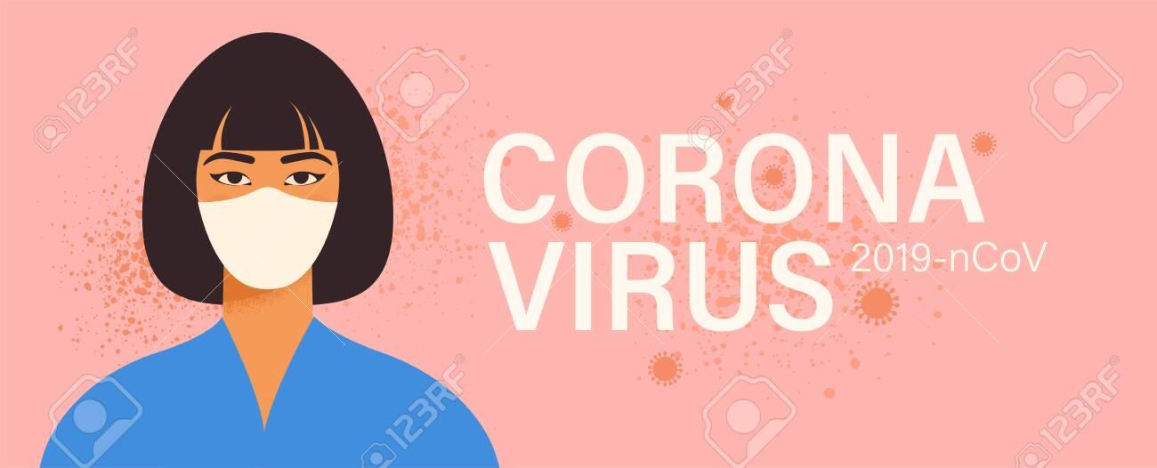 Coronavirus . Novel coronavirus 2019 nCoV, woman in white medical face mask. Concept of coronavirus quarantine. - 140819234