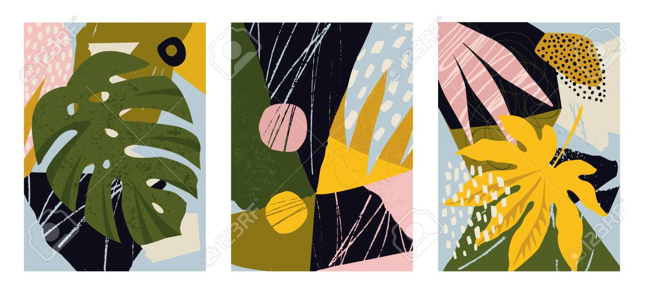 Set of modern posters for home decor, invitation, greeting card designs. Abstract minimalist illustrations with hand drawn design elements, plants, geometric shapes. - 141883532