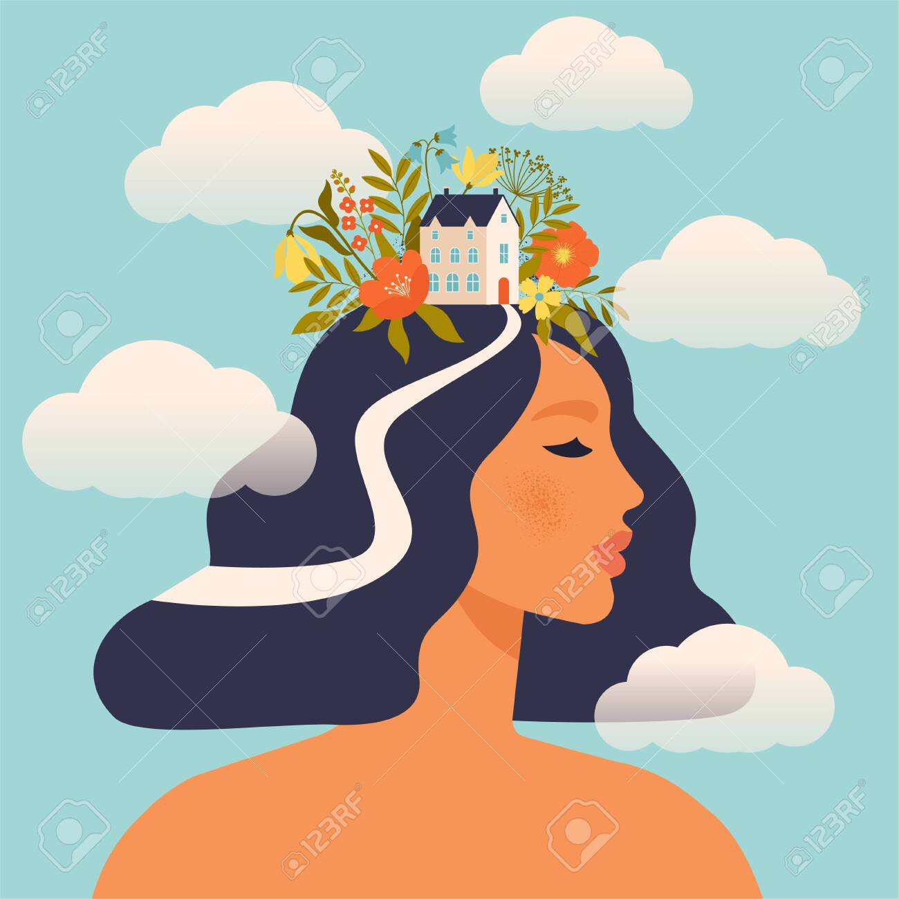 Concept about the processes of thinking of women. Creating ideas in the head, creative profession. Creative fantasy thinking vector illustration. Mechanism of the brain, thinking worker. Woman world. - 146221721