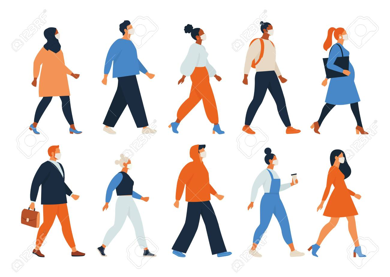 Crowd of people wearing face masks. Men, women, teens use virus preventive measures. Infected persons among healthy. Coronavirus pandemic, epidemic disease. Colorful illustration in flat cartoon style - 148904861