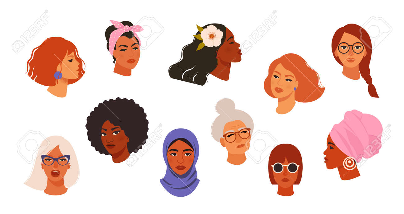 Portraits of beautiful women of different skin color, age, hairstyle, face types. Avatars of diverse fashionable female characters isolated on white background. Flat vector cartoon illustration. - 160518586