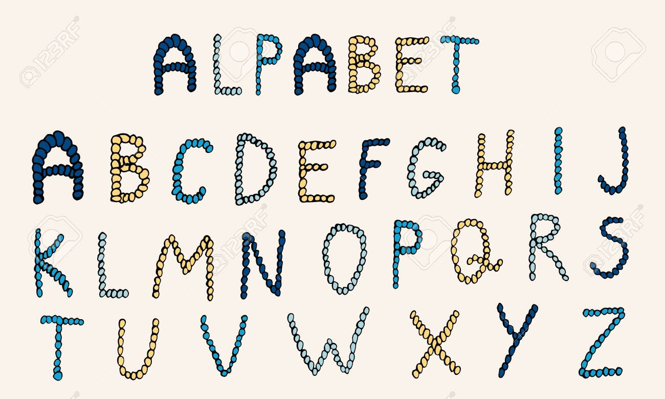 Vector hand drawn alphabet. Colorful English ABCs. Simple typographic design of Latin capital letters made of small circles. - 151017447