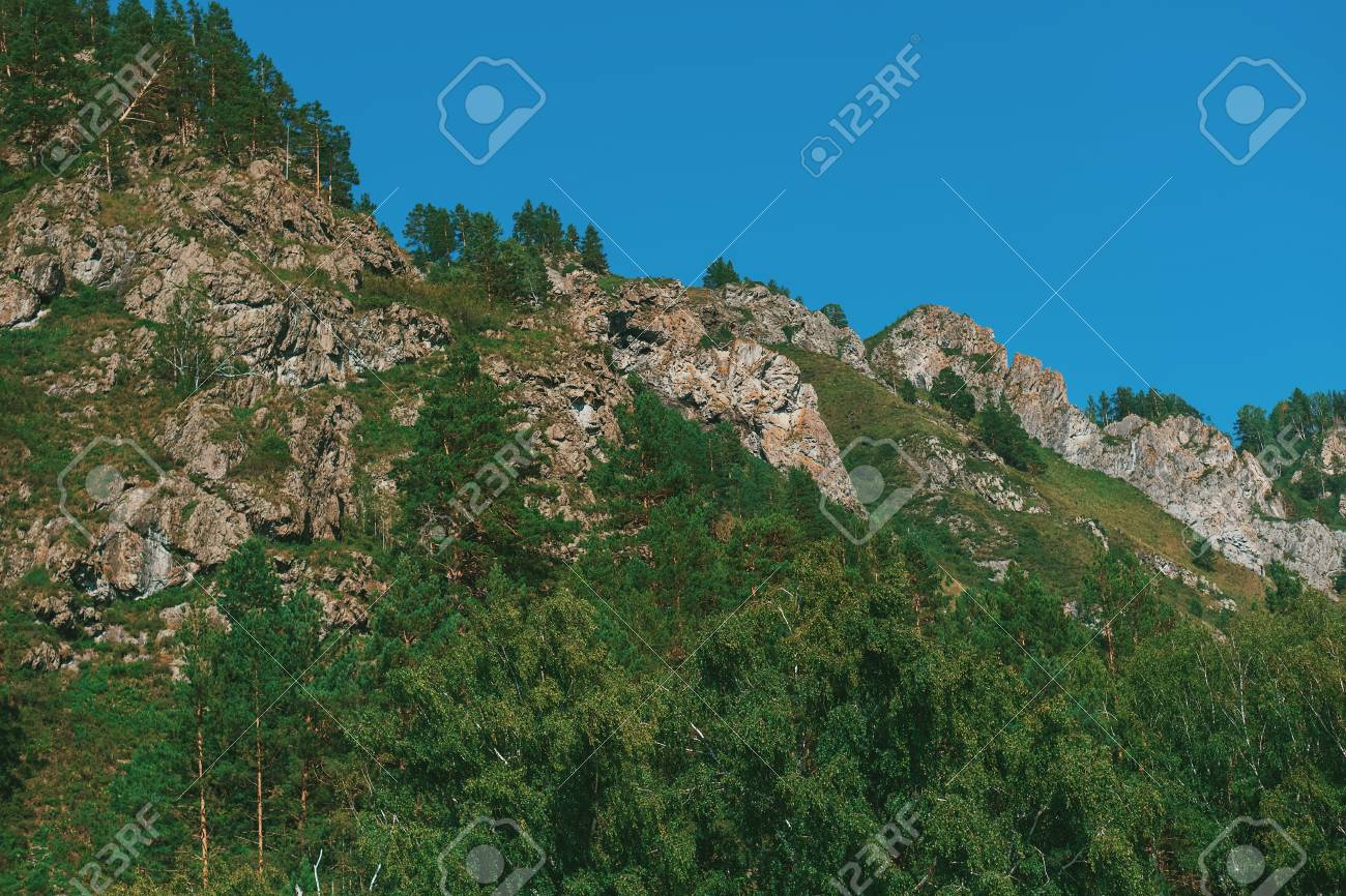Mountain close up. Rock and stones in summer. - 117271914