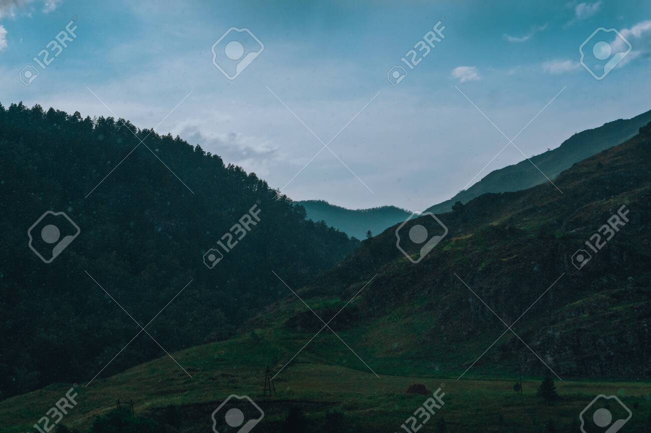 Summer landscape with mountains and river. Blue sky - 117271936
