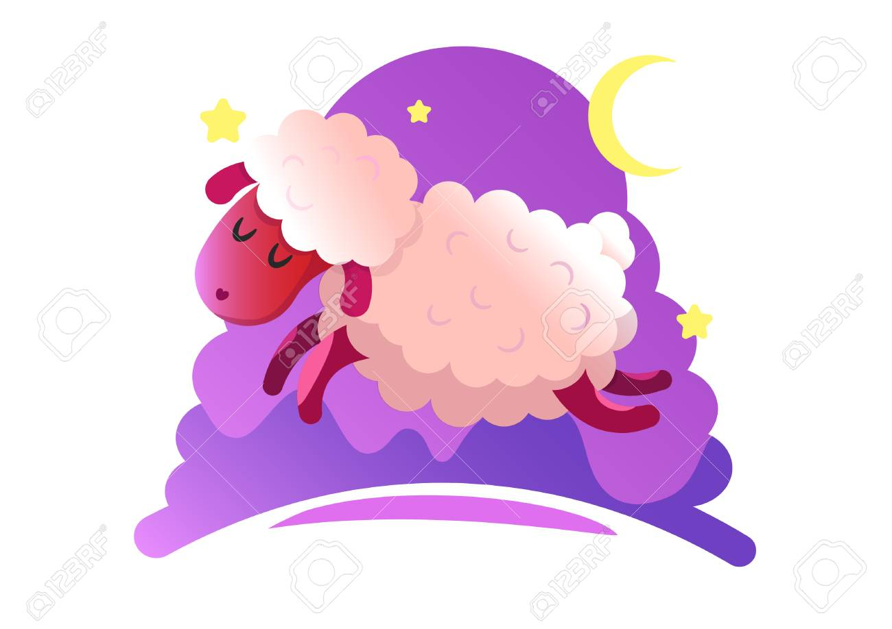 Gumping lambs in the night sky with stars and moon. Vector illustration - 117271964