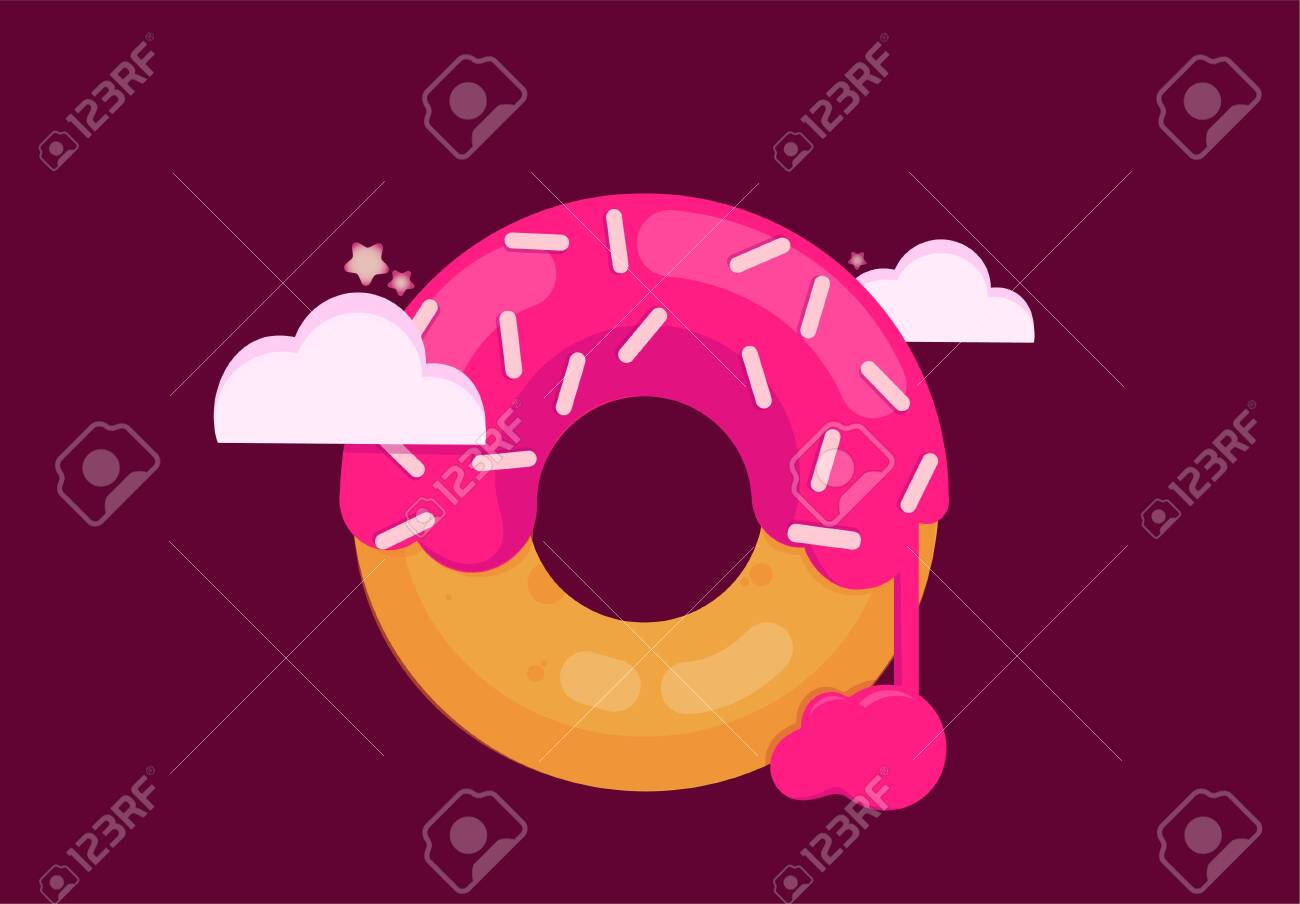 Big pink donut on a purple background in the clouds. - 117271965