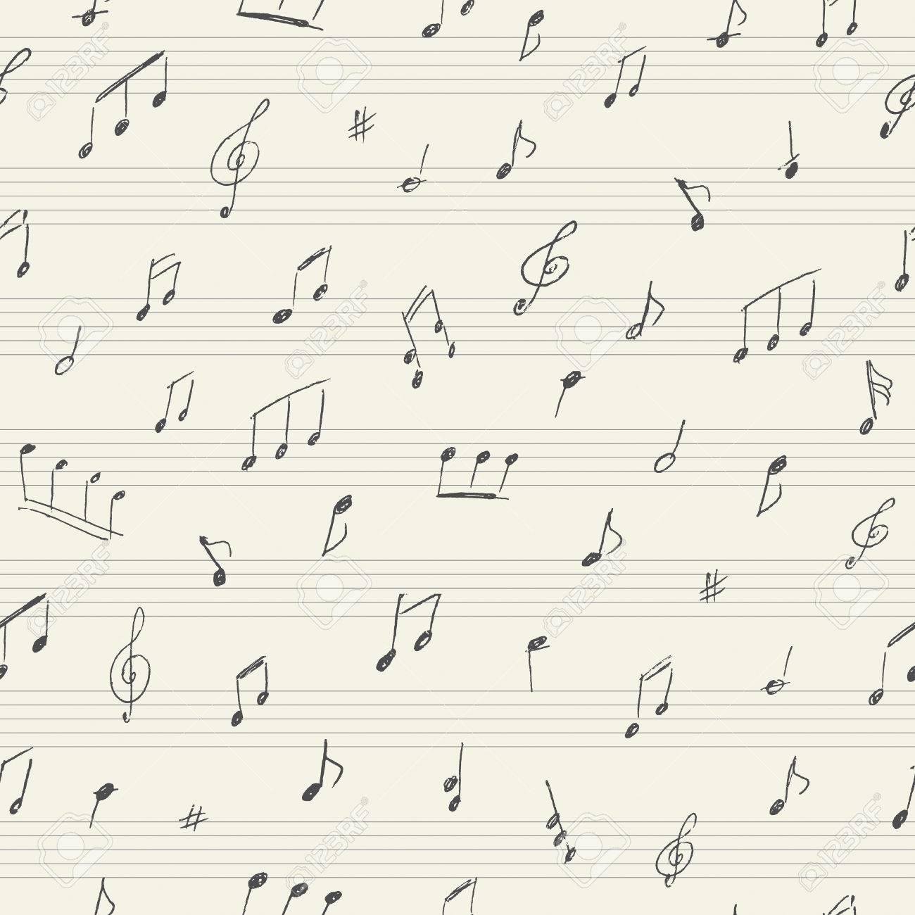 手書きの音符と音楽シームレス パターンのイラスト素材ベクタ Image