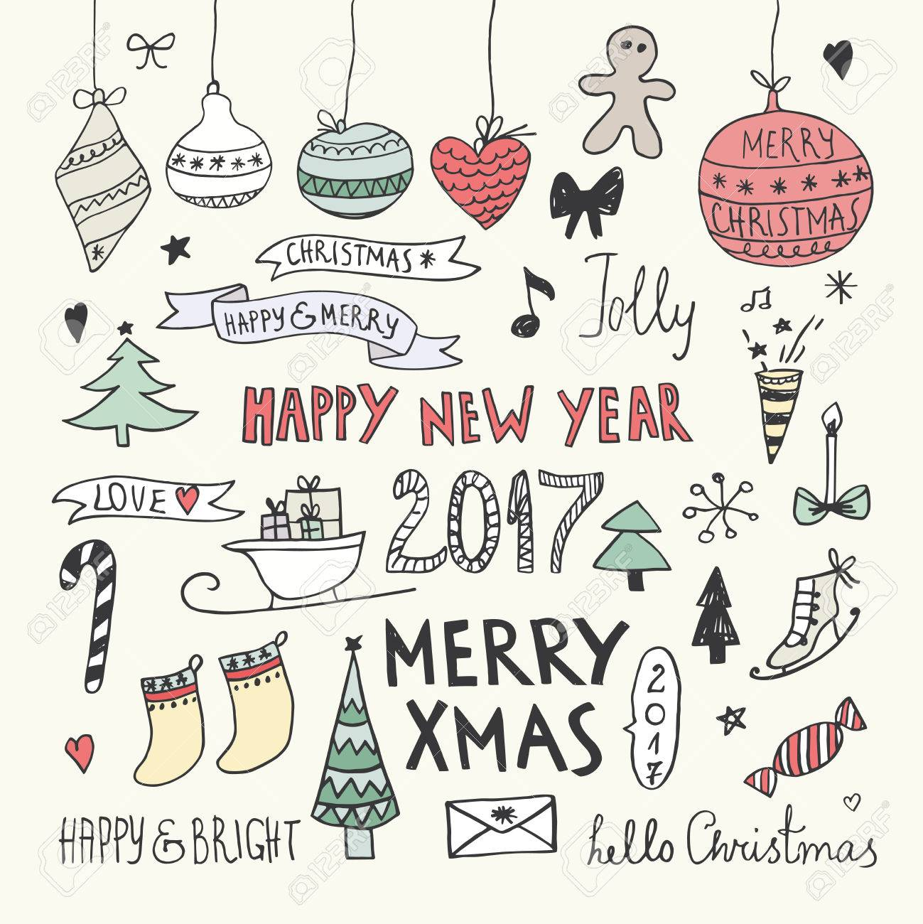 Christmas And New Year Doodles Set Royalty Free Cliparts, Vectors ...
