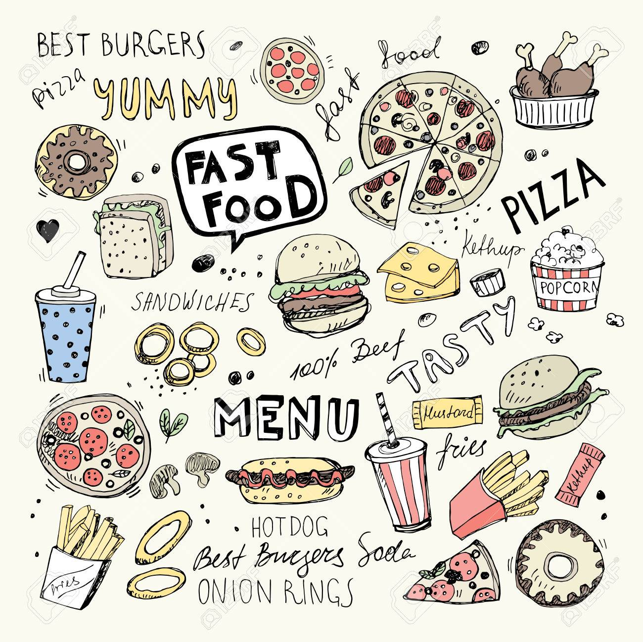 Fast Food Doodles Hand Drawn Vector Symbols And Objects Royalty