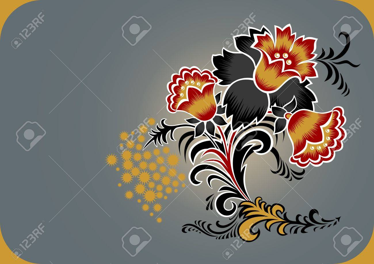 Decoration from abstract flowers. illustration Stock Vector - 12034861