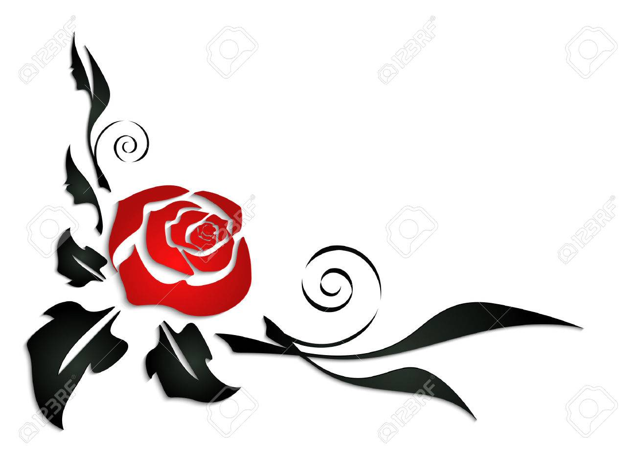 Illustration Of Abstract Rose Corner With Black Leaves