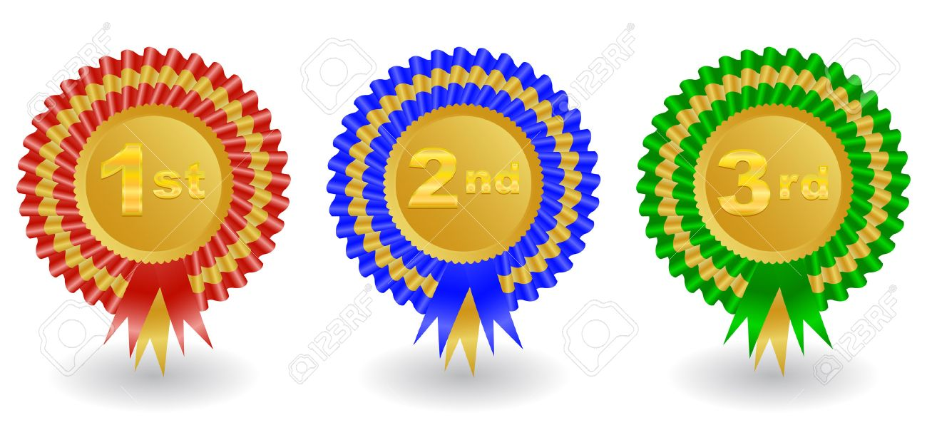 illustration of 1st 2nd and 3rd place colorful award ribbons