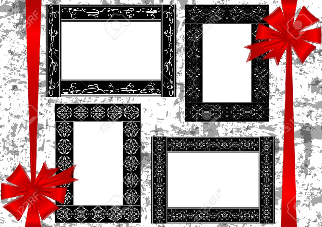 Illustration Of Frames With Floral Ornament, Calligraphic Elements ...