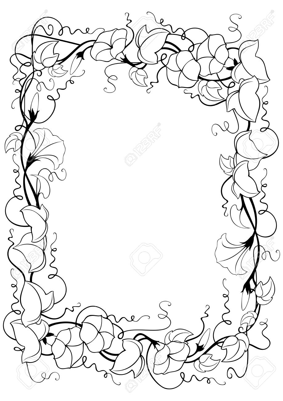 Ilustración De Marco Abstracto Floral Con Hojas Y Flores Enredadera En Colores Blanco Y Negro Aislado