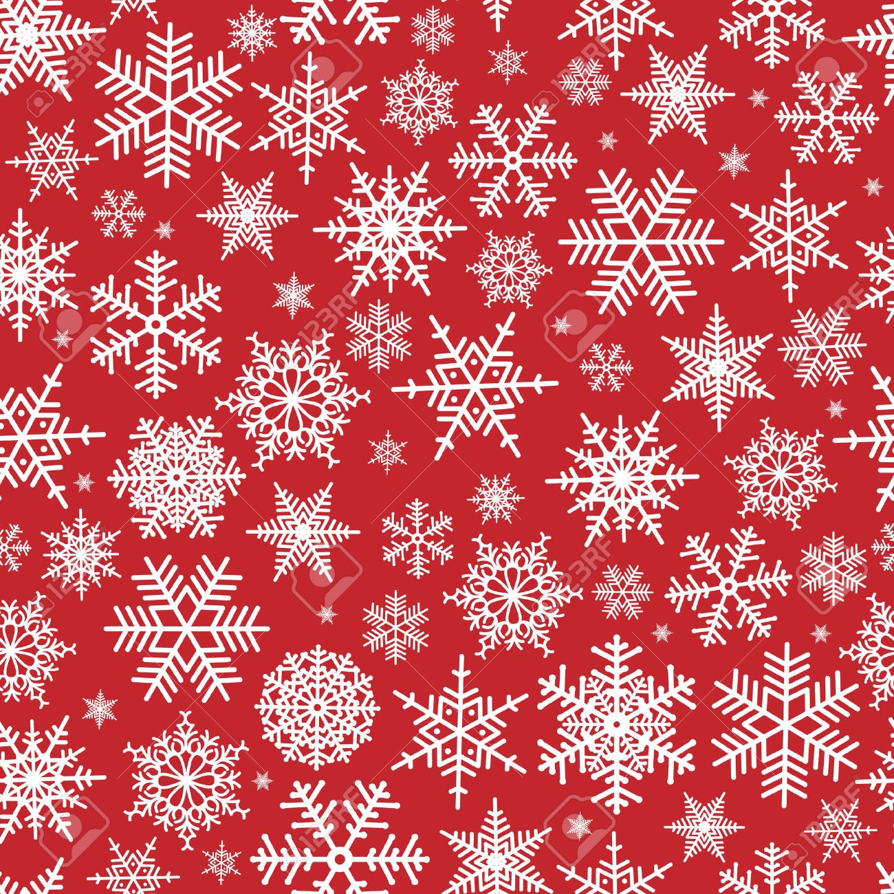 Christmas Pattern.Illustration Of Christmas Pattern With White Snowflakes On Red