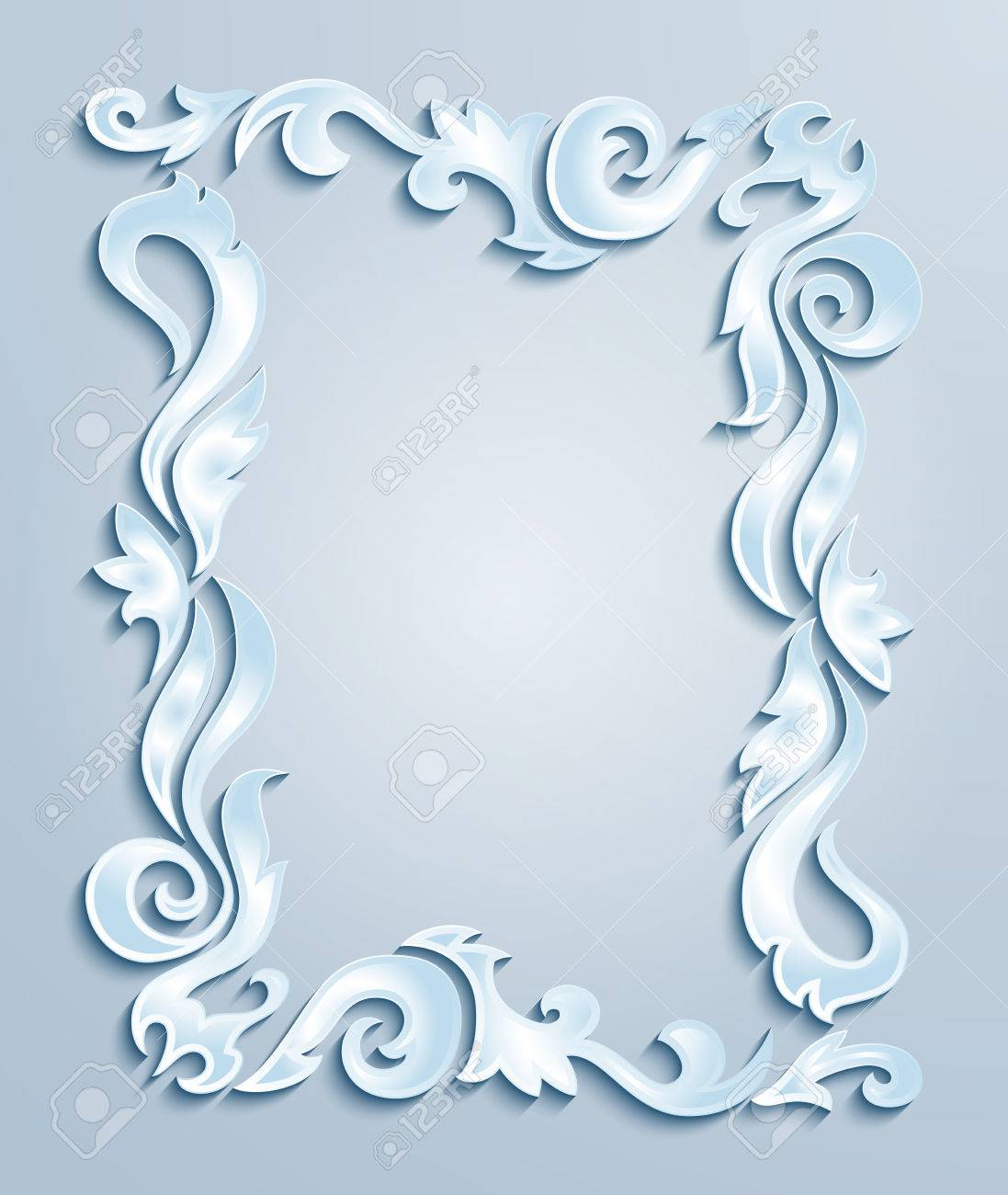Illustration Of Abstract Frame From Floral Cutouts In Blue, Grey ...