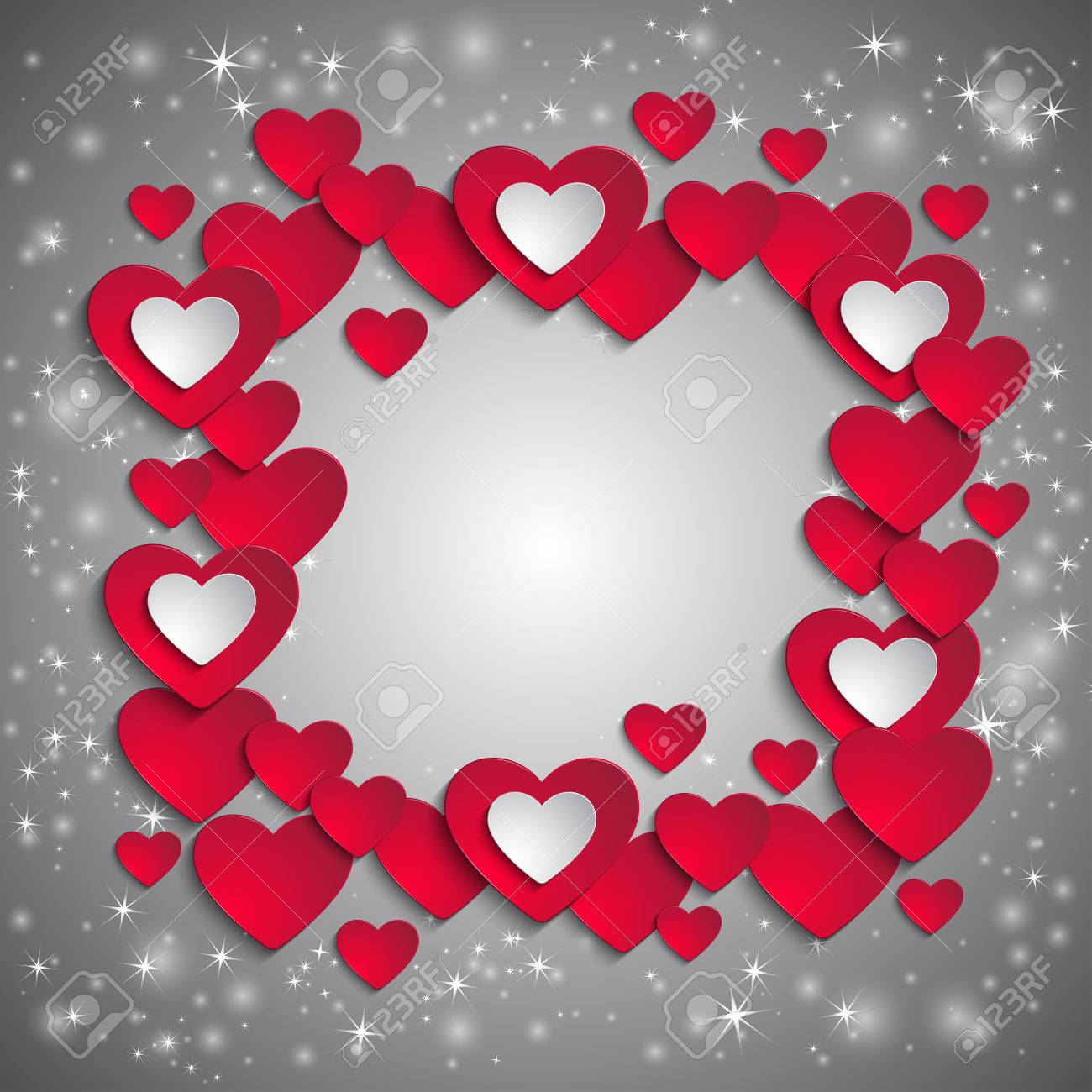 Illustration Of Valentines Day Card Template With Frame From ...