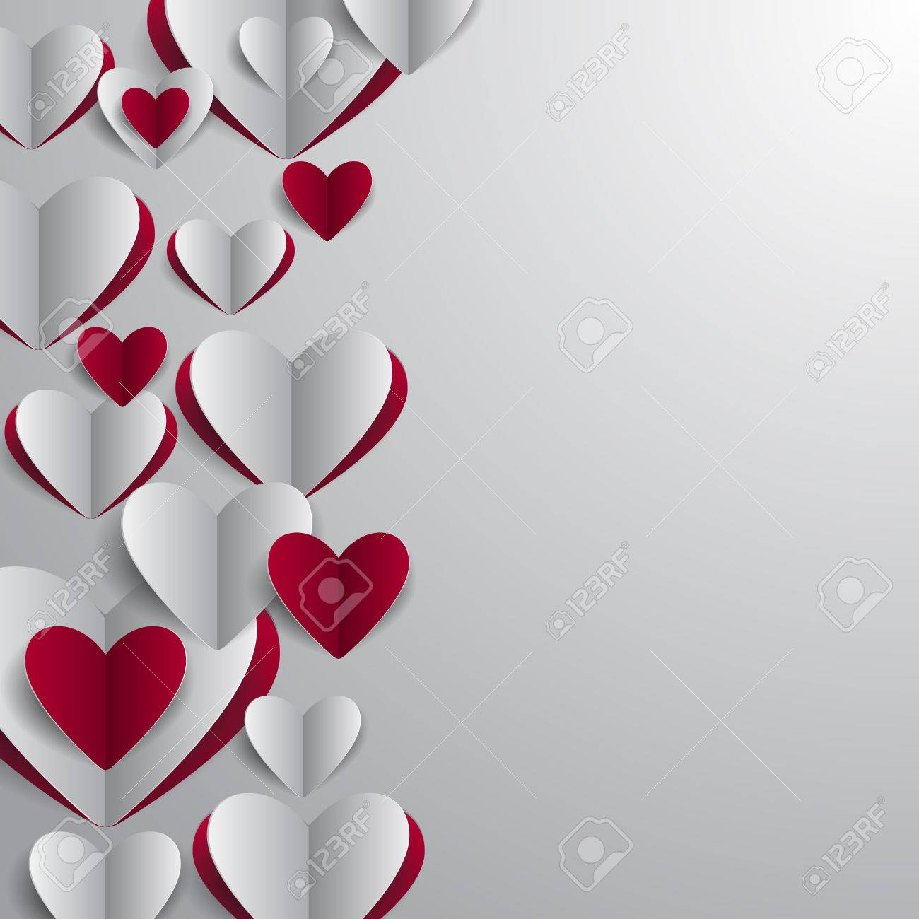 illustration of valentines day card template with paper heart
