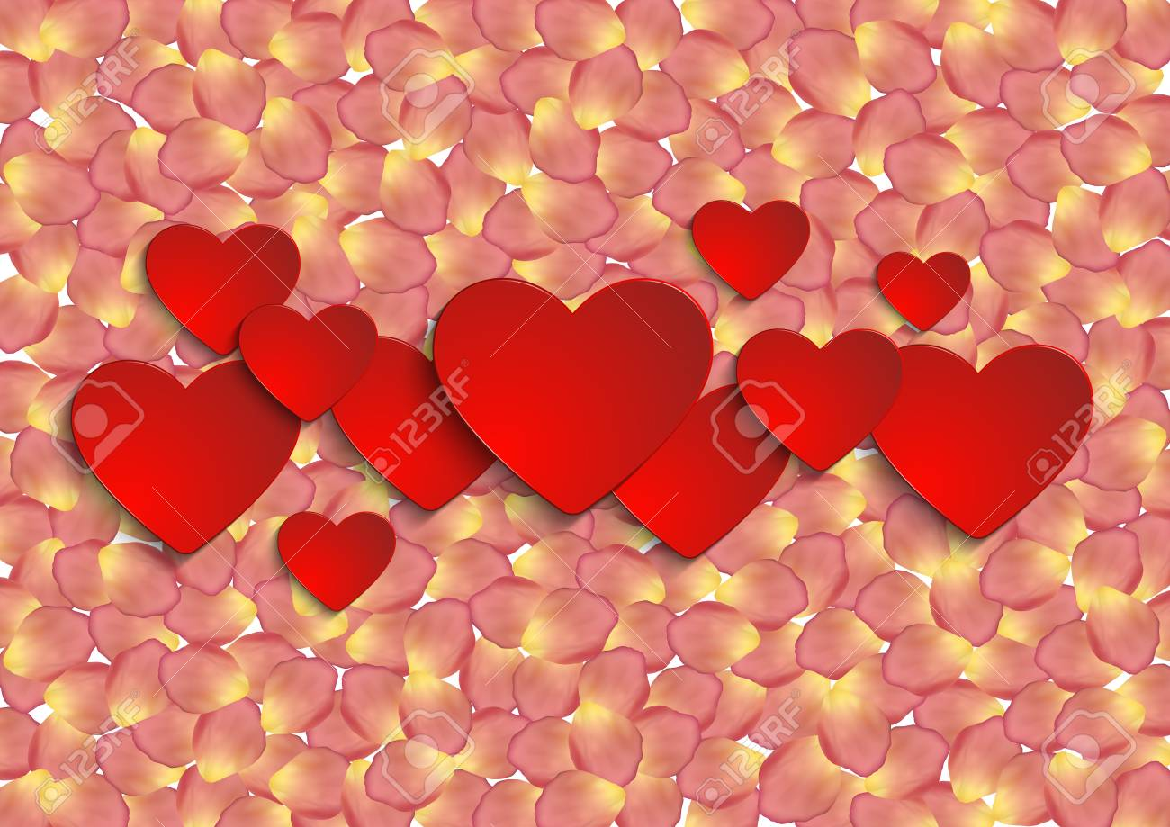 Illustration Of Valentines Day Card Template With Paper Heart ...