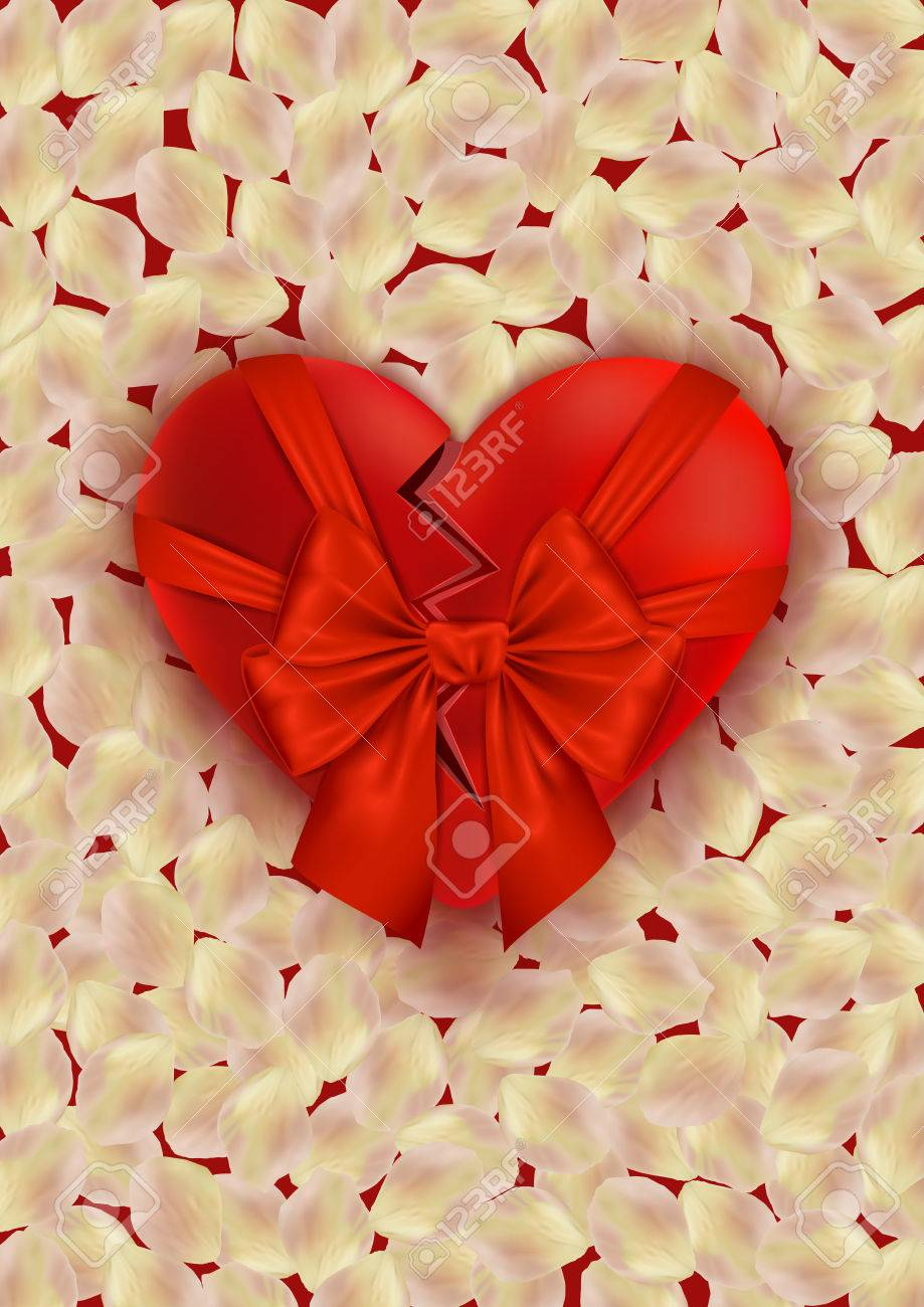 Illustration Of Valentines Day Card Template With Broken Heart ...