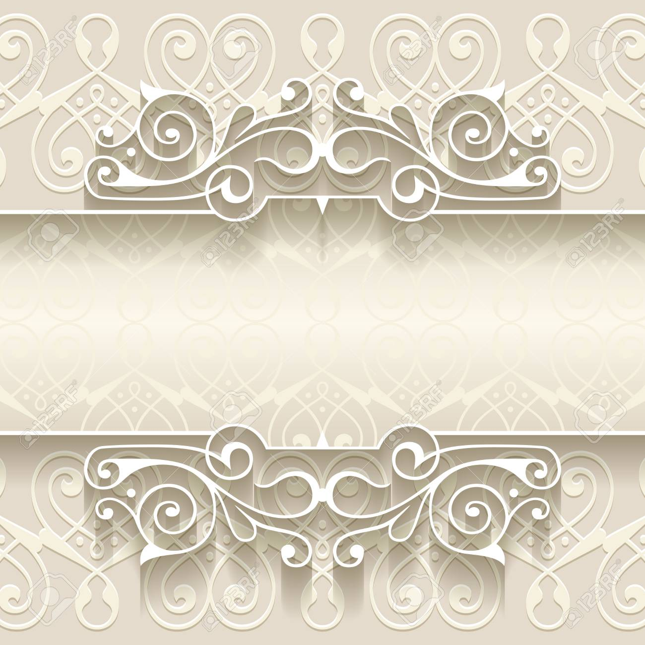 illustration of paper border decoration template with abstract