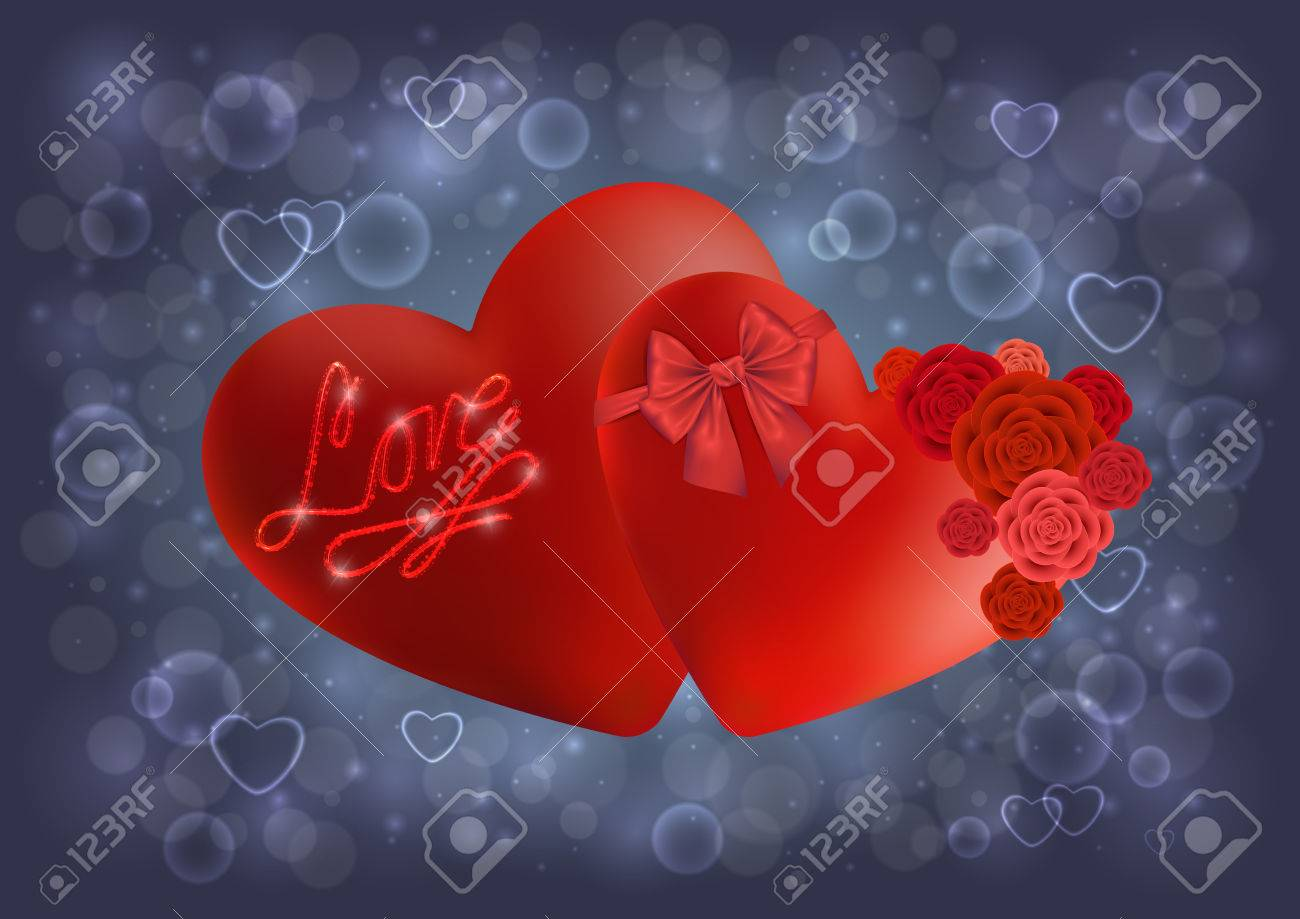 Illustration Of Valentines Day Card Template With Red Hearts ...