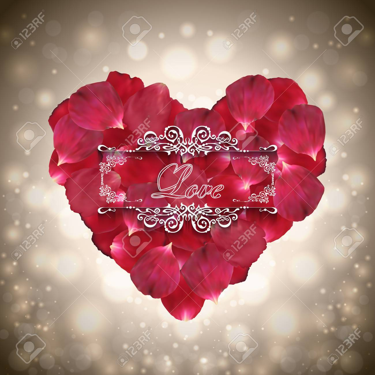 Illustration Of Valentines Day Card Template With Heart Made ...