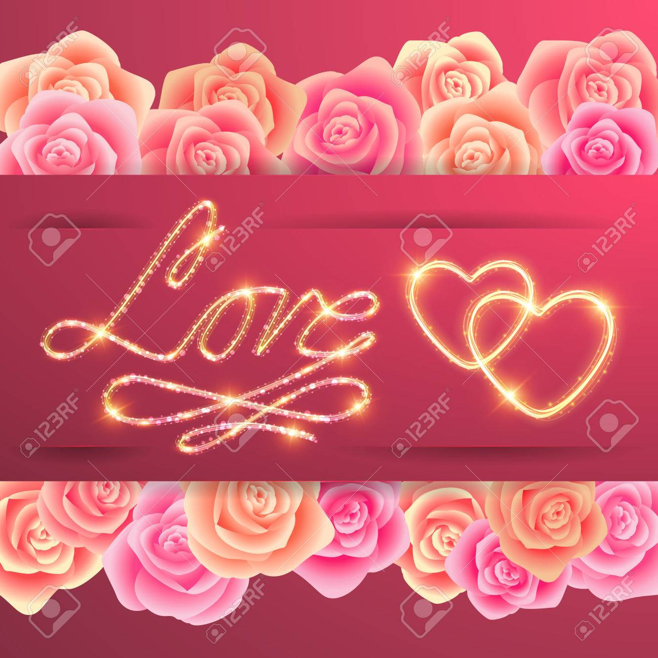Illustration Of Valentines Day Card Template With Love Lettering ...